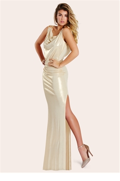 Lipstick Boutique Petite Alba Gold Metallic Slinky Maxi Dress