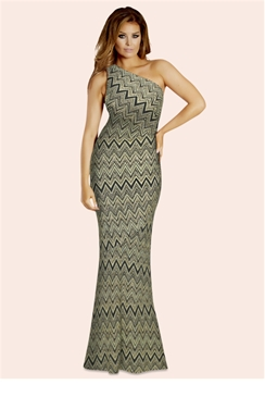 Jessica Wright Anastacia Gold Black Zig Zag Dress