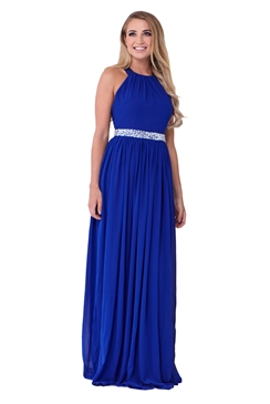Sistaglam Rosana Blue Embellished Waist Maxi Dress