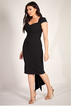 Sistaglam Loves Jessica Wright Amal black midi dress with drapped tail