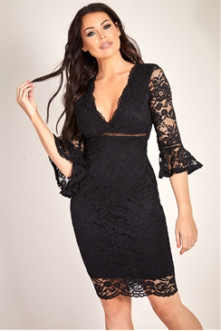 Sistaglam Loves Jessica Wright Laika black v neck lace dress with frill sleeve and ladder trim detail