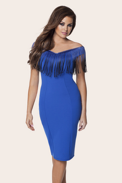 JESSICA WRIGHT RIA BLUE FRINGE BODYCON DRESS