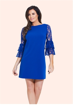 Jessica Wright Mellina Cobalt Frill Sleeve Shift Dress