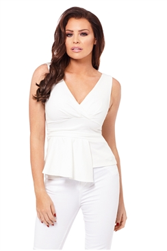 Jessica Wright White Melissa Peplum Top