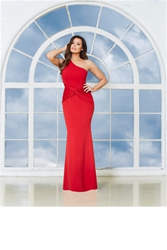 Jessica Wright Nikolina Red One Shoulder Maxi Dress