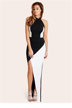 Jessica Wright Nessy Monochrome High Neck panel Maxi Dress