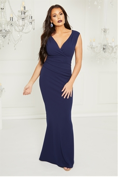 Sistaglam Loves Jessica Wright Kayleen Navy maxi v neck dress with rouching