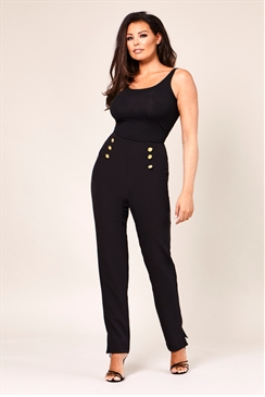 Jessica Wright Miranda Black Straight Leg Trousers With Gold Button Detail