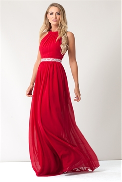 Sistaglam Rosana Red Embellished Waist High Neck Maxi Dress