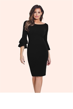 Jessica Wright Izzie Black Flute Sleeve Bodycon Dress