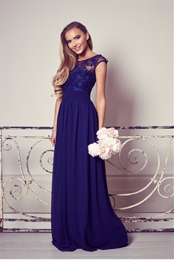 Sistaglam Beverley Navy Embellished Maxi Dress
