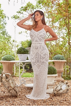 Sistaglam Special Edition Jessica Rose Flory white beaded maxi dress
