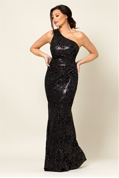 Jessica Wright Tuni Black Sequin One Shoulder Maxi Dress