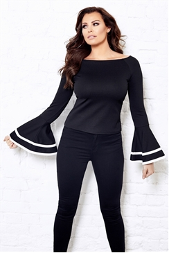 Jessica Wright Marley Black White Long Frill Sleeve Top