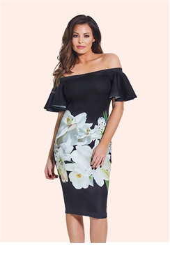 Jessica Wright Annalise Multicolour Floral Bardot Midi Bodycon Dress