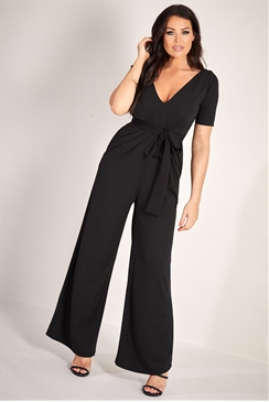 Sistaglam Loves Jessica Wright Kourtney black plunge pleated wide leg jumpsuit