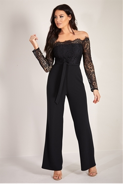 Sistaglam Loves Jessica Wright Davena black eyelash trim detail wide leg long sleeve jumpsuit