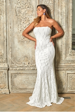 Sistaglam Special Edition Jessica Rose Olivieta white bandeau sequin lace bridal fish tail maxi dress