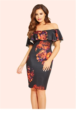 Jessica Wright Willow Black Floral Off The Shoulder Frill Bodycon Dress