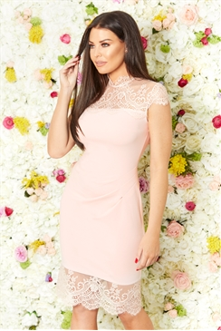 Jessica Wright Madelyn blush panel Lace Trim Dress With eyelash hem