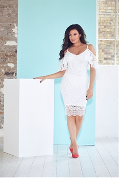 Jessica Wright Saydee White Lace Cold Shoulder Bodycon Dress