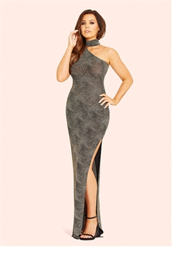Jessica Wright Mischa Sparkly One-Shoulder Maxi Dress