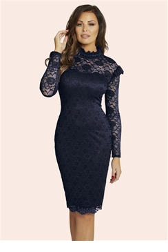 Jessica Wright Kennie Navy Lace Bodycon Dress