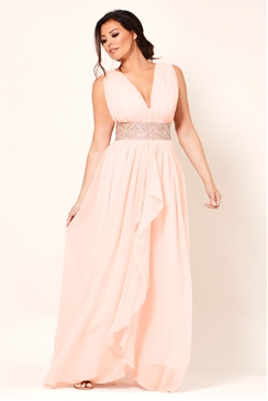 Jessica Wright Abrianna Nude Chiffon V-Neck Maxi Bridesmaid Dress