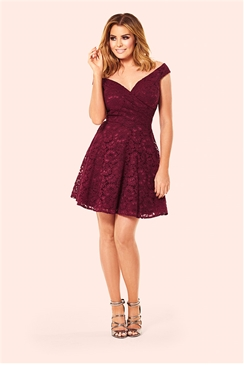 Jessica Wright Amara Berry Lace Bardot Skater Dress
