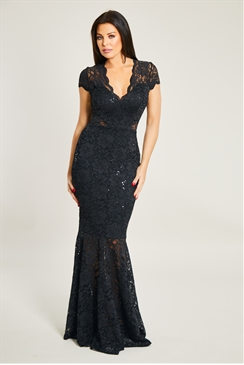 Jessica Wright Kennedy Black V Neck Sequin Lace Maxi Dress With Fishtail Hem