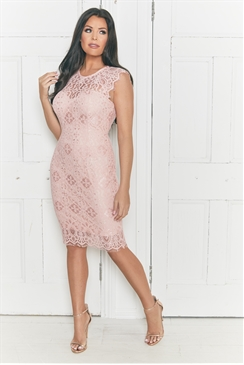 Jessica Wright Breanna Blush Lace Bodycon Scallop Detail