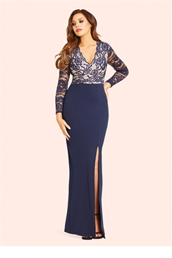 Jessica Wright Tamera Navy Lace Detail Maxi Dress