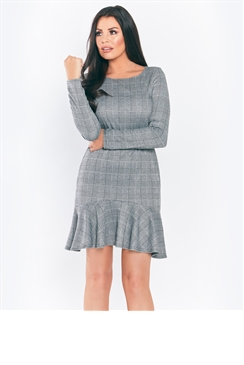 Jessica Wright Sylla Grey Long Sleeve Midi Check Dress With Frilled Hem