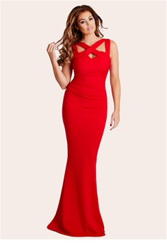 Jessica Wright Krystal Red Cutout Cross Neck Maxi Dress