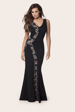 Jessica Wright Lena Black Lace Insert Plunge Maxi Dress