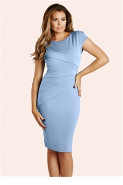 Jessica Wright Vicky Cornflower Blue Pleated Bodycon Dress