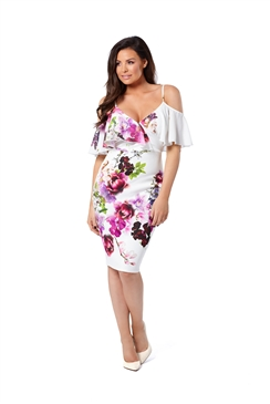 Jessica Wright Avril Floral Multicolour Cold Shoulder Bodycon Dress