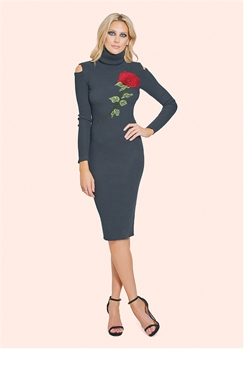 Sistaglam Kyra Black Roll Neck Trimmed  Bodycon Jumper Dress