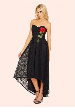 Sistaglam Raney Black Bandeau High Low Lace Dress