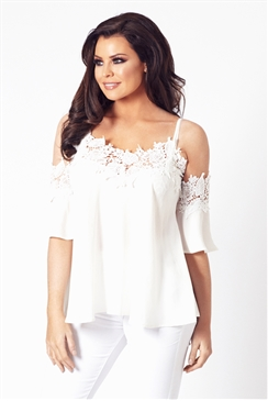 Jessica Wright White Fifi Cold Shoulder Top