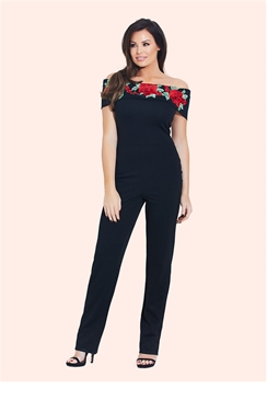 Jessica Wright Jordina Black Embroidered Jumpsuit