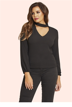 Jessica Wright Tasha Black Choker Detail Top