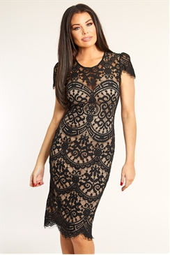 Sistaglam Loves Jessica Wright Siya black nude lace midi bodycon cap sleeve dress