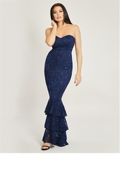 Jessica Wright Arisha Navy All Over Sequin Lace Frill Hem Maxi Dress