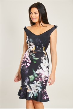 Jessica Wright Alda Floral print bodycon frilled hem midi dress