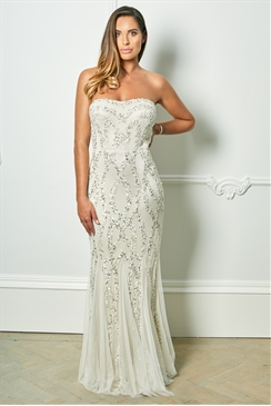 Sistaglam Special Edition Jessica Rose Mimmi Cream Bandeau Pattern Sequin Fish Tail Maxi Dress