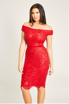Jessica Wright Marni VIP Red Sequin Lace Bardot Bodycon Dress