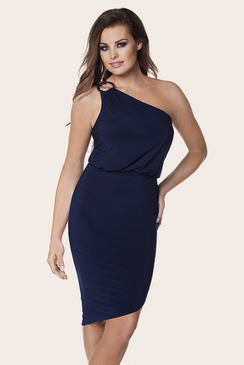 JESS WRIGHT PERRY NAVY ONE SHOULDER ASYMETRIC SLINKY DRESS