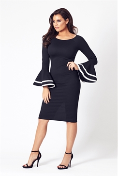 Jessica Wright Yulia Black And White Frill Sleeve Bodycon Dress