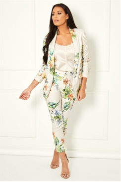 Jessica Wright Andie cream multi tailored floral print blazer